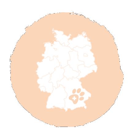 Deutschland Landkarte mit Paws & Patch Logo in Bayern